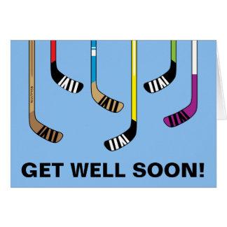 Get Well Soon Hockey Colorful Hockey Sticks Card