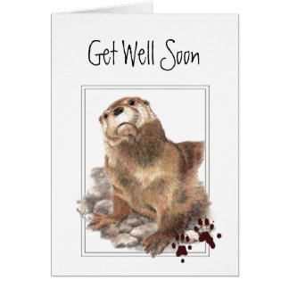 Get Well Soon, I Care, Cute Otter & Scripture Greeting Card
