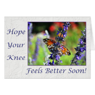 Get Well Soon Knee Butterfly Floral Card