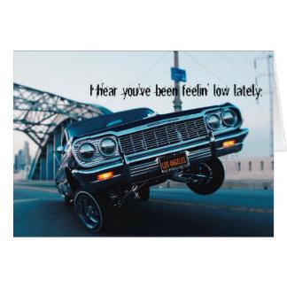 Get well soon lowrider classic car card
