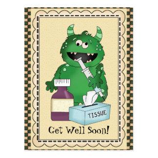 Get Well Soon Monster greeting postcard