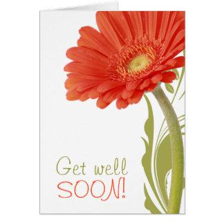Get Well Soon | Orange Gerbera Daisy Greeting Card