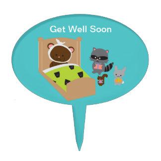 Get Well Soon Sick Bear and Animal Friends Cake Topper