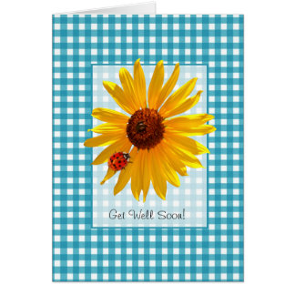 Get Well Soon Summer Sunflower And Ladybug Card