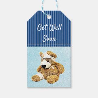 Get Well Soon Teddy Bear Blue Gift Tag