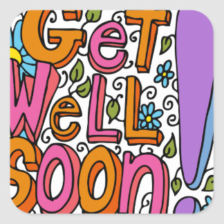 Get Well Soon Text Cartoon Square Sticker
