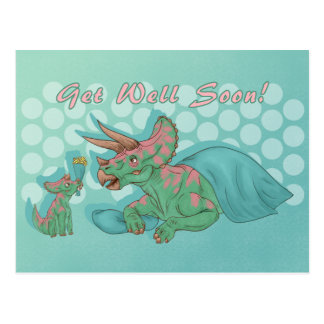 Get Well Soon Triceratops Postcard
