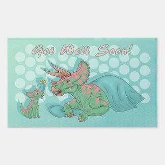 Get Well Soon Triceratops Rectangular Sticker