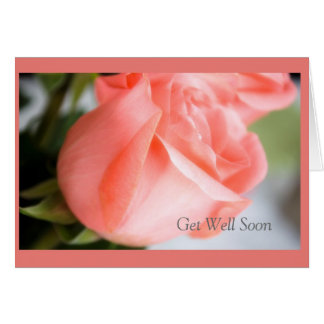 Get Well Soon with Rose Design Greeting Card