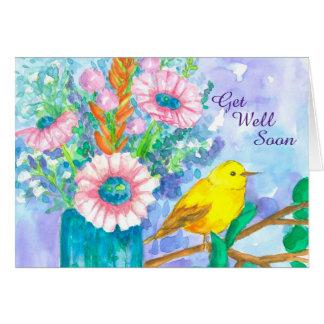 Get Well Soon Yellow Bird Flower Bouquet Card