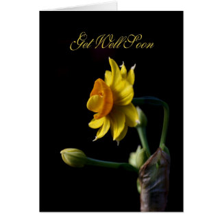 Get Well Soon - Yellow Daffodil Flower Card
