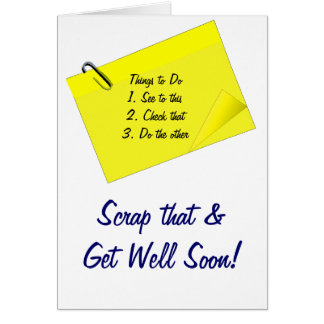 Get well yellow post-it funny greeting card
