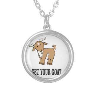 get your goat joke silver plated necklace