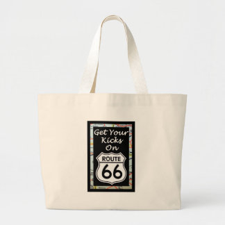 Get Your Kicks On Route 66 With Map Large Tote Bag