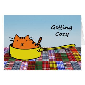 Getting Cozy, Orange Cat in Yellow Pan Card