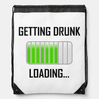 Getting Drunk Loading Funny Drawstring Bag