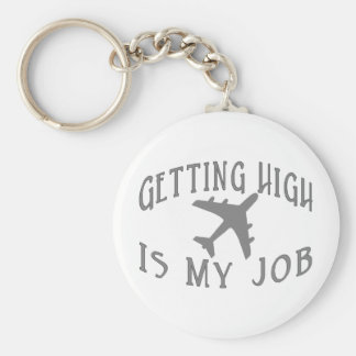 Getting High Airline Pilot Basic Round Button Key Ring