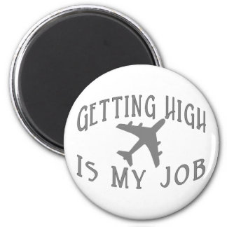 Getting High Airline Pilot 6 Cm Round Magnet