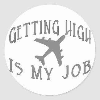 Getting High Airline Pilot Round Stickers