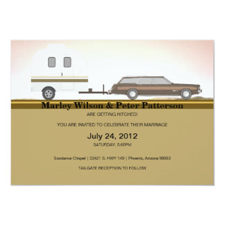 Getting hitched! 13 cm x 18 cm invitation card