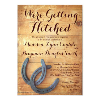 Getting Hitched Double Horseshoe Wedding Invites