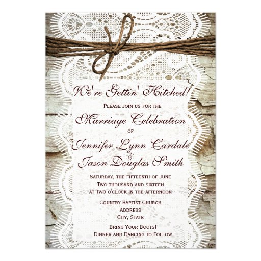 Getting Hitched Rustic Country Wedding Invitations Announcement