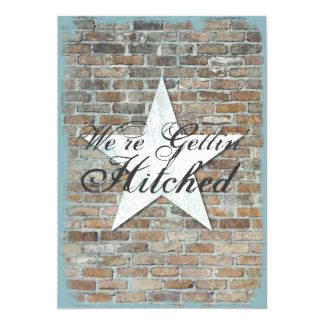 Getting Hitched Rustic Star Brick Wedding Invites