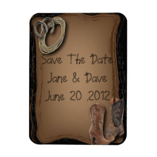 getting hitched western cowboy boots wedding rectangular photo magnet