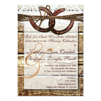 Getting Hitched Wood Horseshoes Wedding Invites