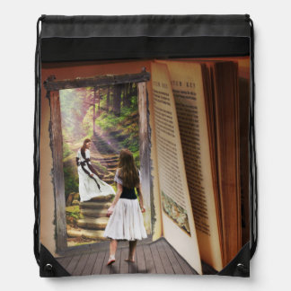 Getting Lost in imagination while reading book Drawstring Bag