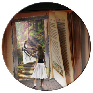 Getting Lost in imagination while reading book Plate