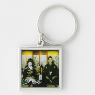 Getting Married in Old Japan The Happy Couple Silver-Colored Square Key Ring