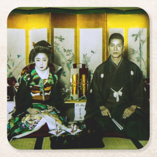Getting Married in Old Japan The Happy Couple Square Paper Coaster