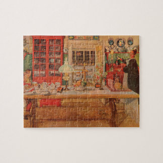 Getting Ready for a Game of Cards by Carl Larsson Jigsaw Puzzle