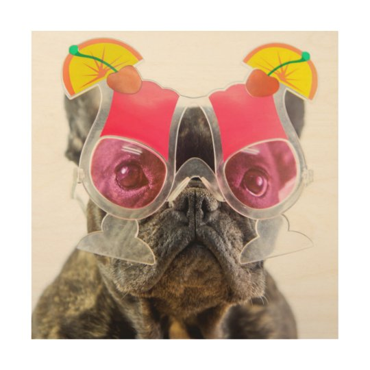 Getty Images | Dog With Cocktail Glasses Wood Wall Decor