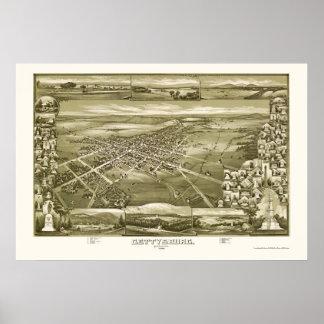 Gettysburg, PA Panoramic Map - 1888 Poster