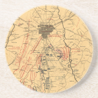 Gettysburg & Vicinity Troop Positions July 3 1863 Beverage Coasters