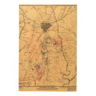 Gettysburg & Vicinity Troop Positions July 3 1863 Wood Wall Art