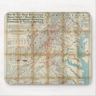 Gettysburg, Wilderness & Appomattox Civil War Map Mouse Pad