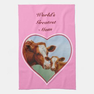 Geurnsey Cow Calf Bright Pink Hearts Tea Towel