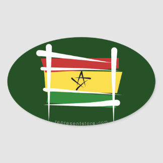 Ghana Brush Flag Oval Sticker
