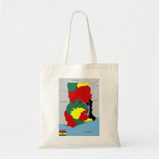ghana country map flag canvas bag