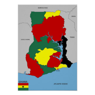 ghana country map flag poster