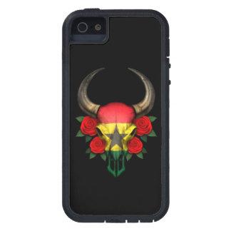 Ghana Flag Bull Skull with Red Roses Cover For iPhone 5