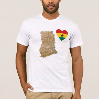 Ghana Flag Heart and Map T-Shirt