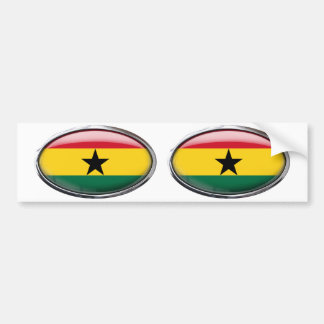 Ghana Flag in Glass Oval Bumper Sticker