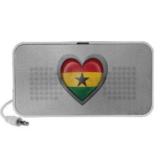Ghana Heart Flag Stainless Steel Effect Travel Speakers