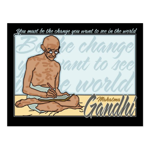 Ghandi Be The Change Quote Post Card