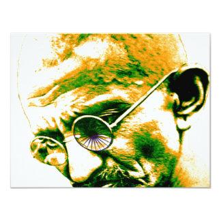 Ghandi in orange, green and white 11 cm x 14 cm invitation card
