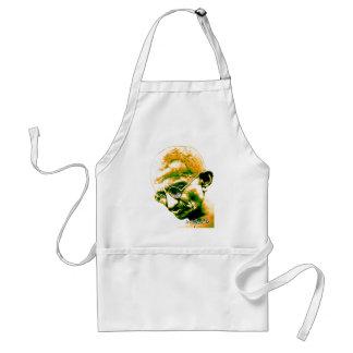 Ghandi in orange green and white apron